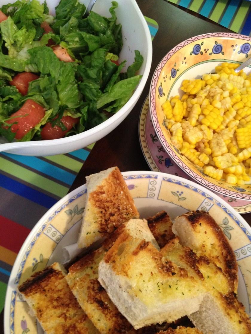 Salad, Corn, and Garlic Bread