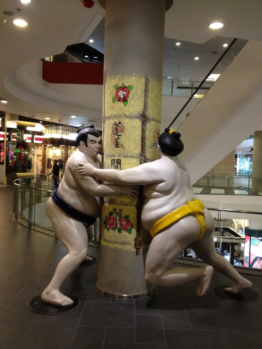 Sumo Wrestlers at Terminal 21 in Bangkok, Thailand