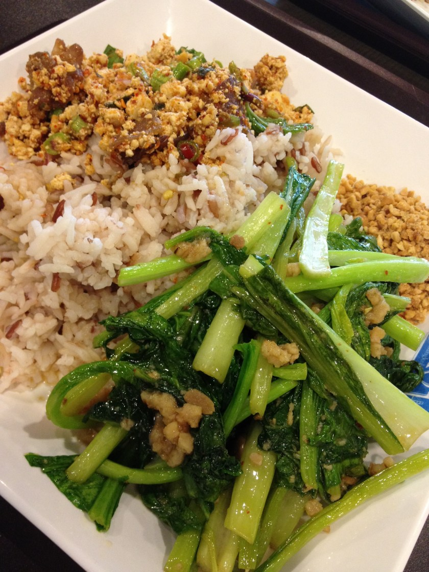 Greens, Rice, and Spicy Tofu