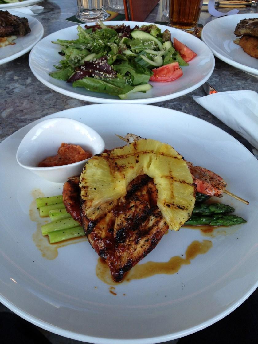 BBQ Chicken & Shrimp, Asparagus, Side Salad