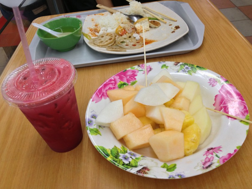 Apple Beetroot Carrot Juice and Mixed Fruit Platter