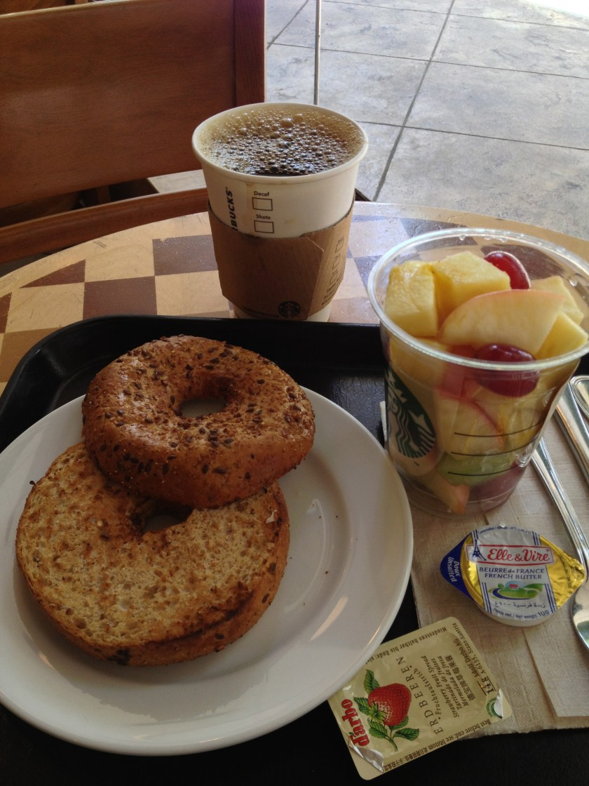 Black Coffee, Mixed Fruit, Toasted Bagel