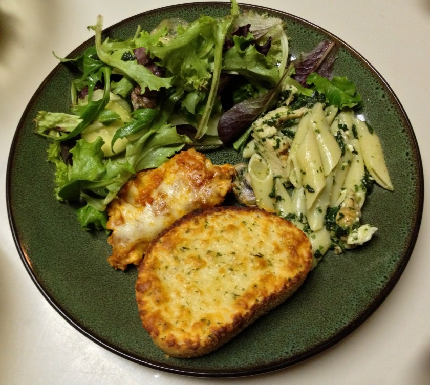 Salad, Pasta, Lasagna, Garlic Bread