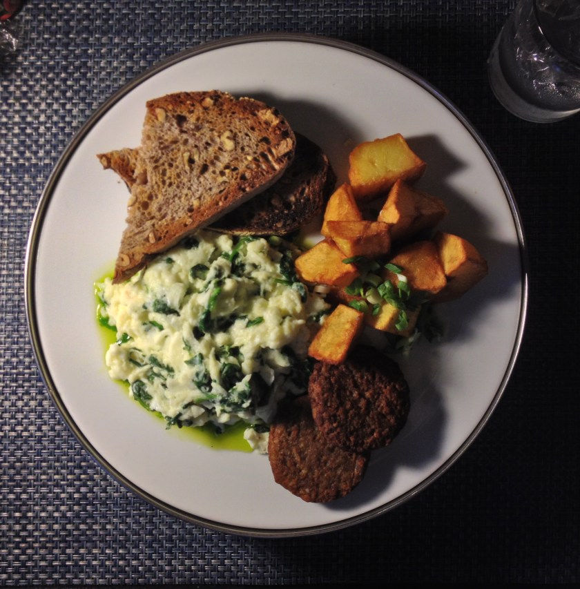 Egg White Scramble, Walnut Bread, Veggie Sausage, Potatoes