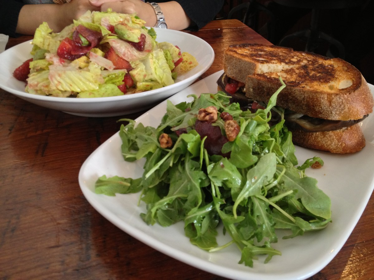 Avocado & Plum salad, Roasted Eggplant Sandwich