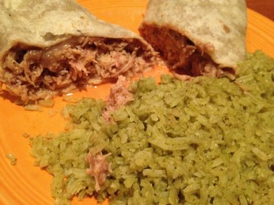 Chicken and Refried Bean Burrito, Green Rice