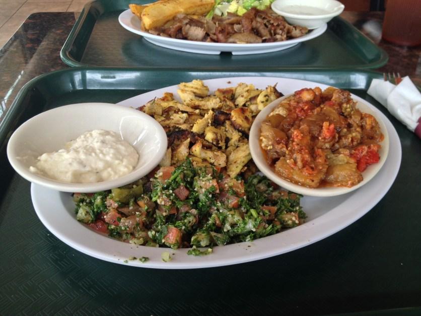 Chicken Shawarma, Tabbouleh Salad, Eggplant Casserole