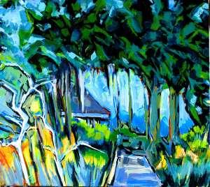 "Philip Bates Artist ""Eagle Neck Oaks II"", Acrylic, 18X20, $150, w/strip frame"