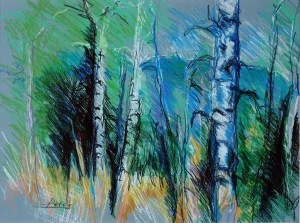 "Philip Bates Artist ""Aspens at McCall, Idaho"" 11X15 mixed media $150 framed"