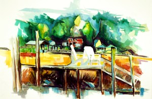 "Philip Bates Artist ""Betty's Dock"" Mixed Media 14 1/2x 21 1/2 $150 unframed"
