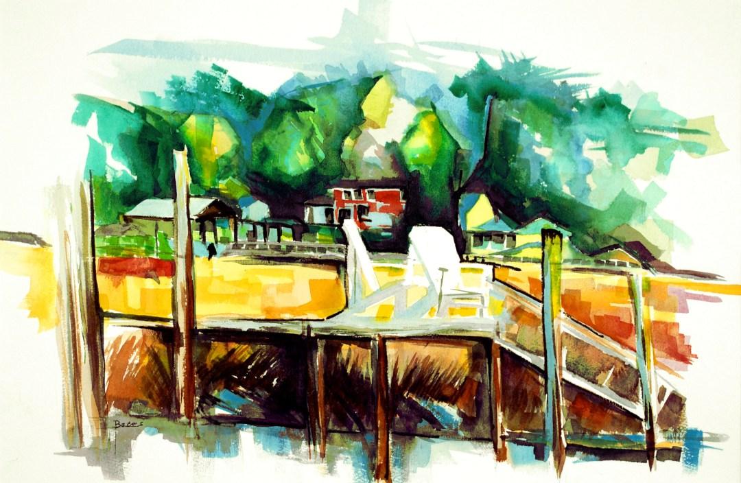 Philip Bates Artist ||Betty's Dock|| Mixed Media 14 1/2x 21 1/2 $150 unframed