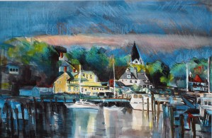 "Philip Bates Artist ""Mackinac Harbor"" Mixed Media 14X21 $150 (unframed)"