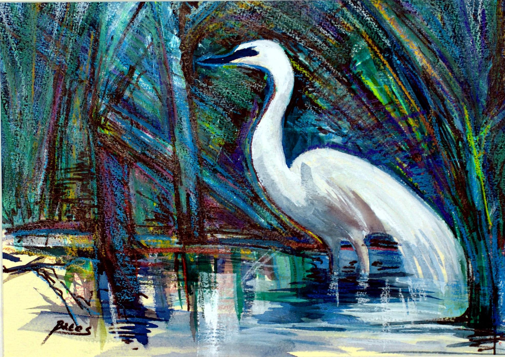 """Philip Bates Artist """"Marsh Bird at Harris Neck"""" Mixed Media 10 X14 $100 unframed"""