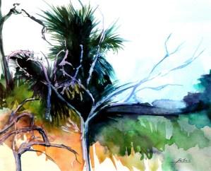 "Philip Bates Artist ""Marsh at Eagle Neck"" W/C 10 1/2 X 13 $150 framed"