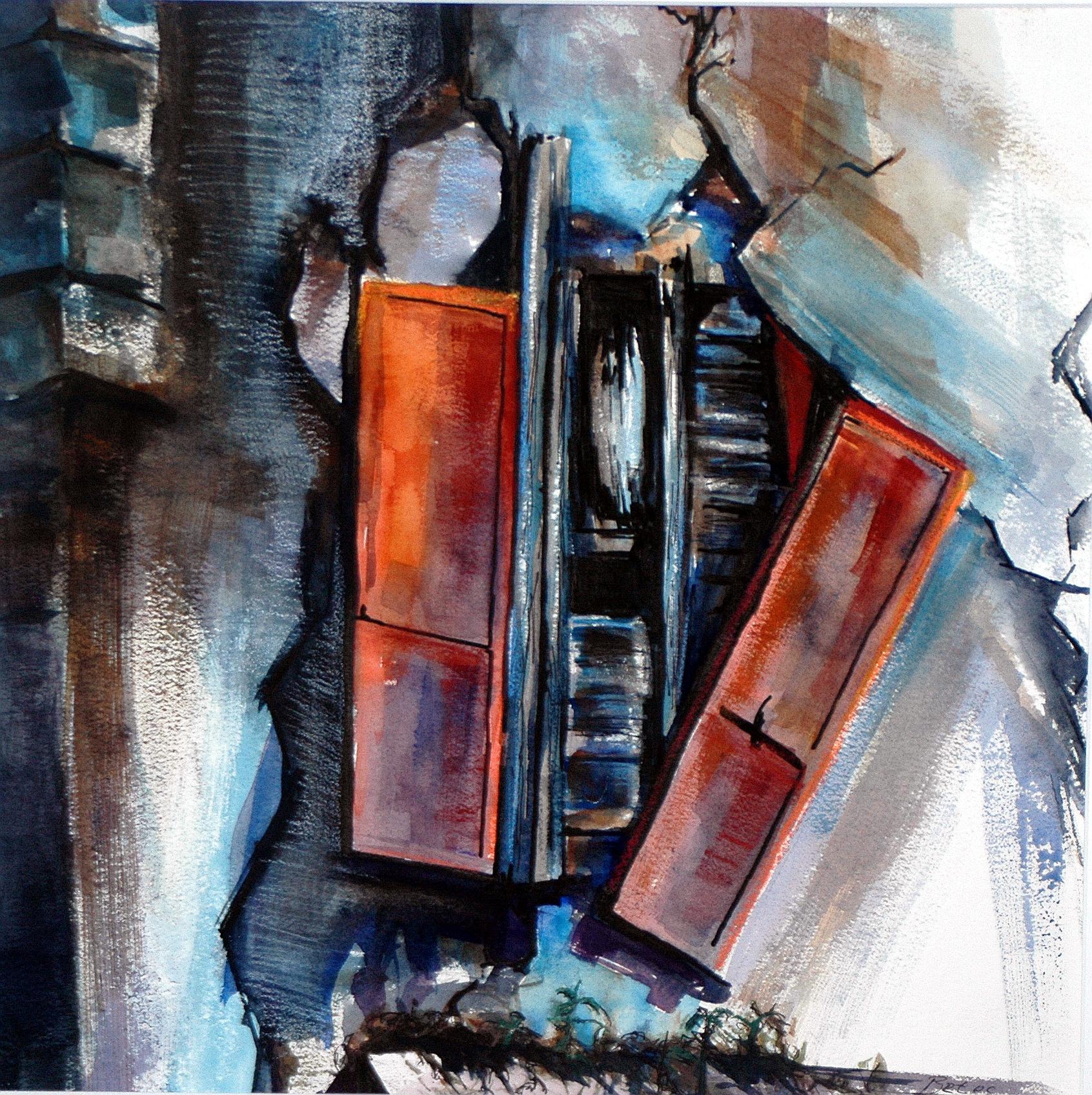 "Philip Bates Artist ""Shutters at Darien Waterfront"" Mixed Media 14 X 14 $150 framed"