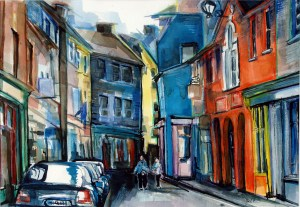 "Philip Bates Artist ""Street Scene- Kensale, Ireland"" 13X19 mixed media $150 framed"