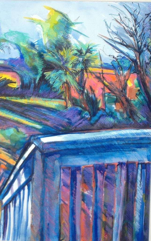 "Philip Bates Artist ""Riverview"" Mixed Media 12 1/2 X 19 1/2 $200 unframed"