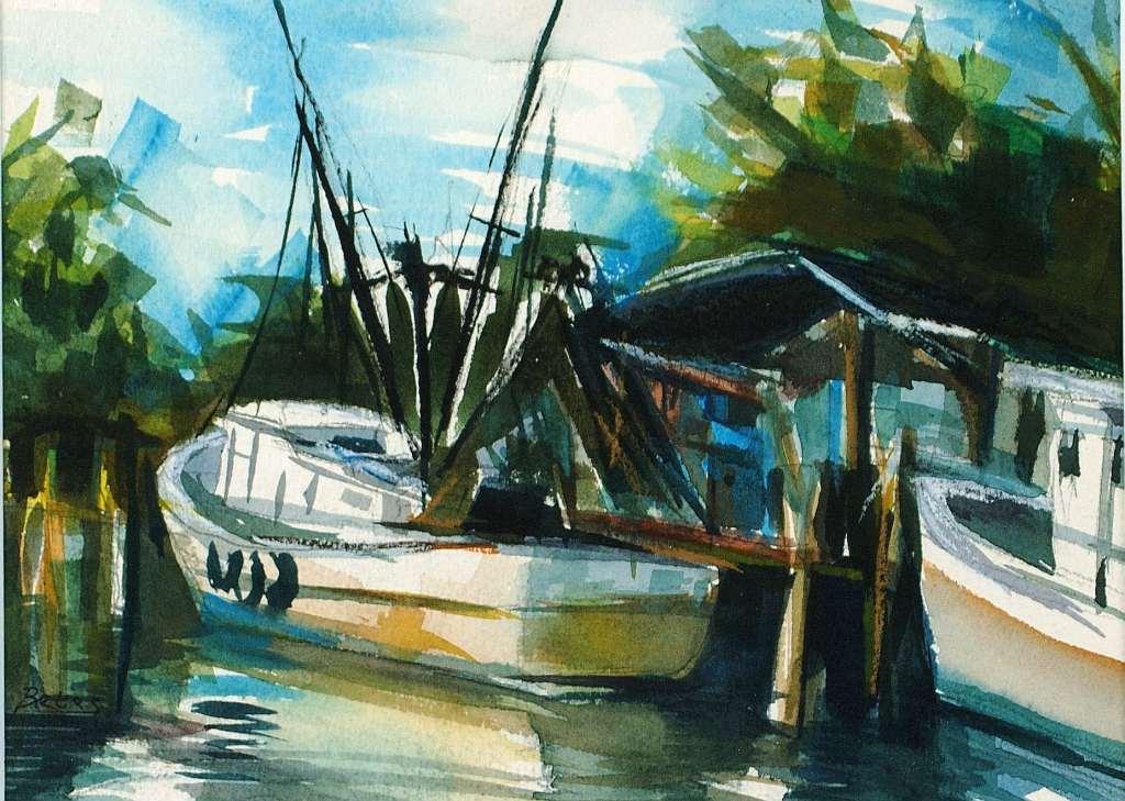 "Philip Bates Artist ""Shrimp Boats"" 7X10 mixed media $100 framed"