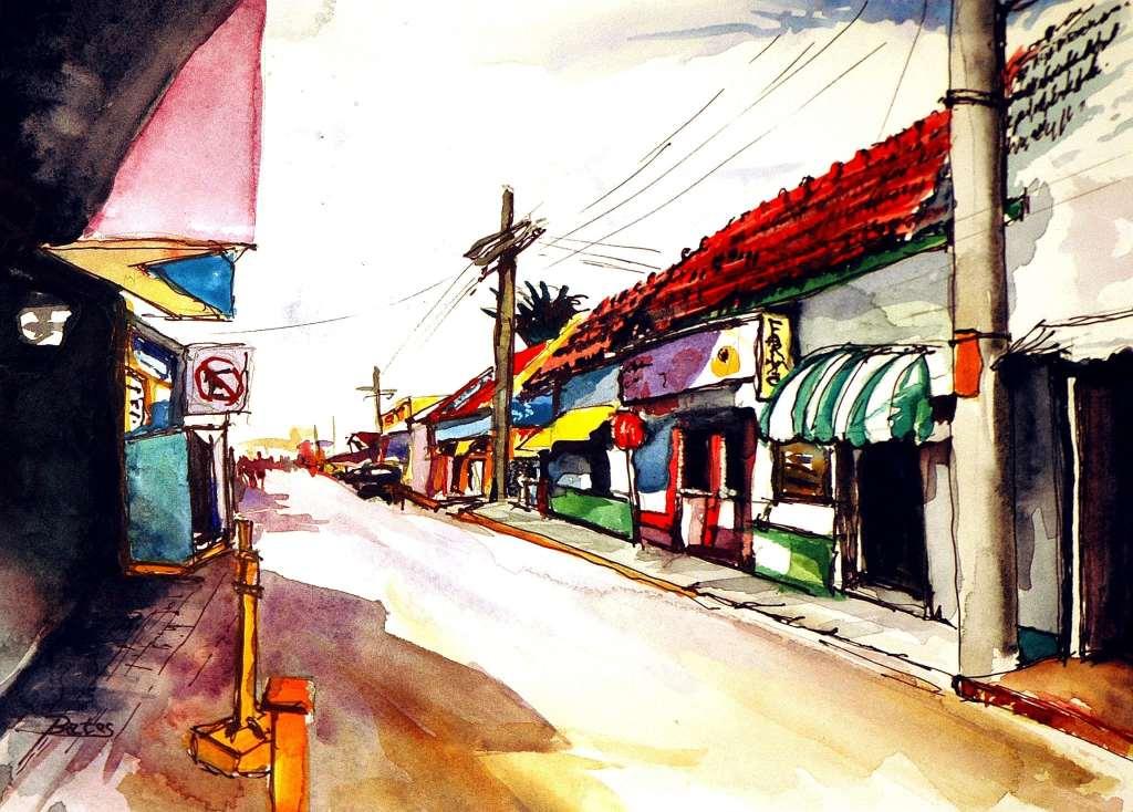 """Philip Bates Artist """"Street Scene- Isla Mujeres, Mexico"""" Mixed Media 8 1/2 X 11 3/4 $120 unframed"""