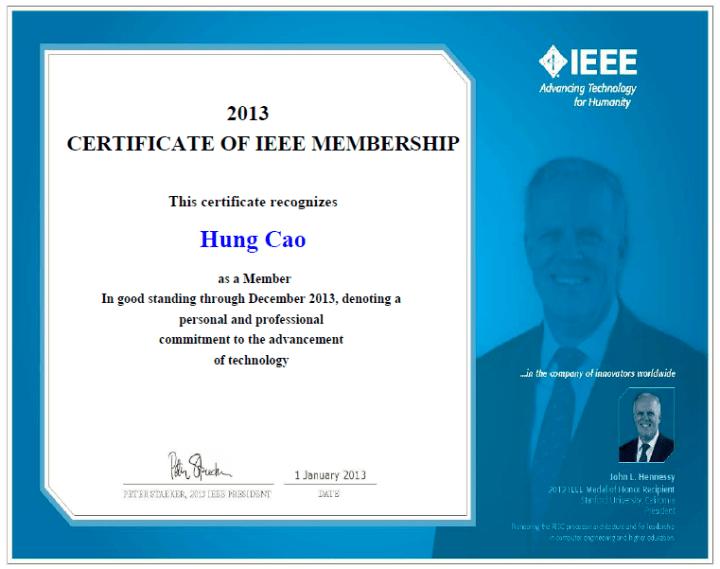 IEEE – 2013 Certificate of Membership