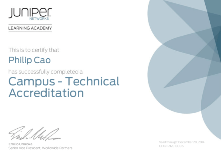 [2012] Philip Cao - Juniper Networks Technical Accreditation - Campus