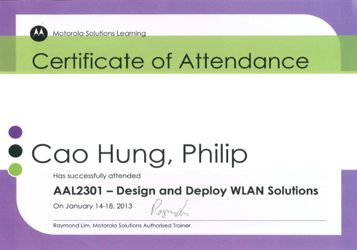 Motorola Solutions: Design and Deploy WLAN Solutions (AAL2301) – Certificate of Attendance