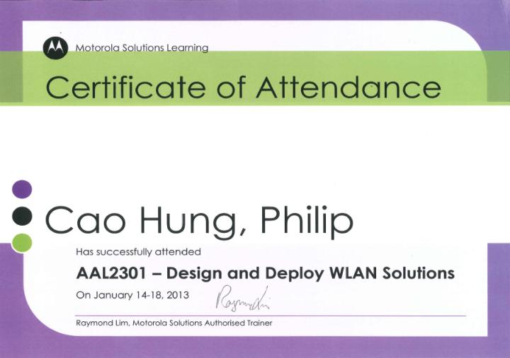 [2013] Philip Cao - Motorola Solutions - Design & Deploy WLAN Solutions (AAL2301) - Certificate of Attendance