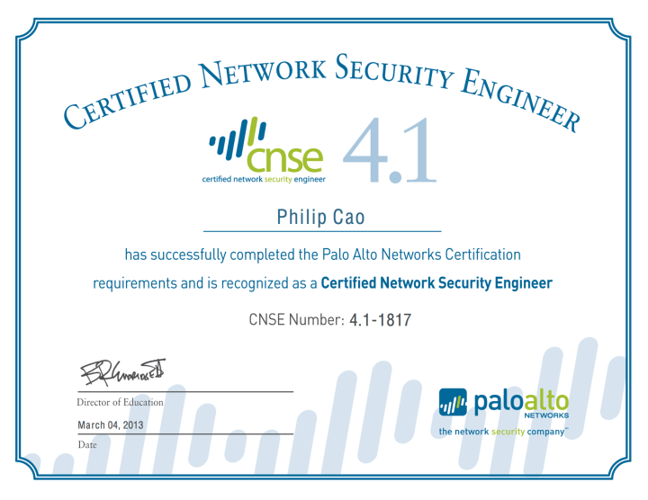 Palo Alto Networks – Certified Network Security Engineer (CNSE) 4.1