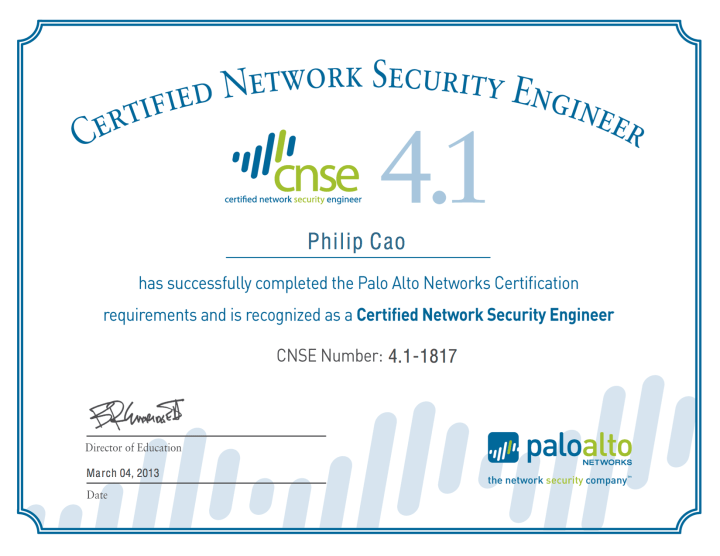 [2013] Philip Cao - Palo Alto Networks - Certified Network Security Engineer (CNSE) 4.1