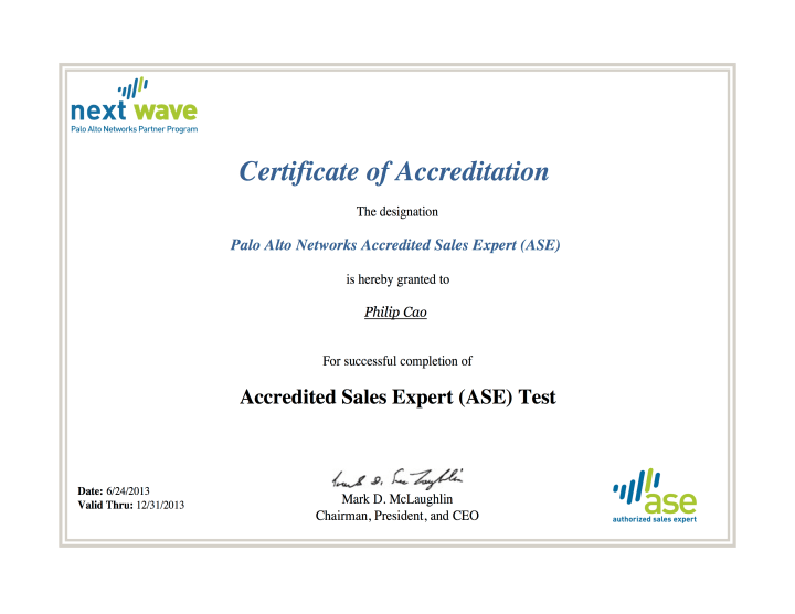 [2013] Philip Cao - Palo Alto Networks - Accredited Sales Expert (ASE)