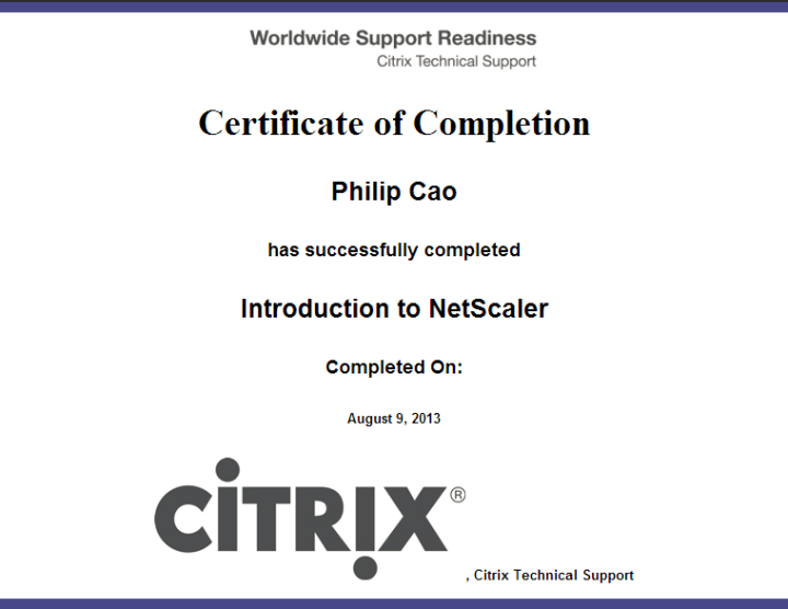 [2013] Philip Cao - Introduction to Citrix NetScaler - Certificate of Completion