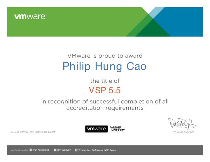 VMware Sales Professional 5.5 (VSP 5.5)