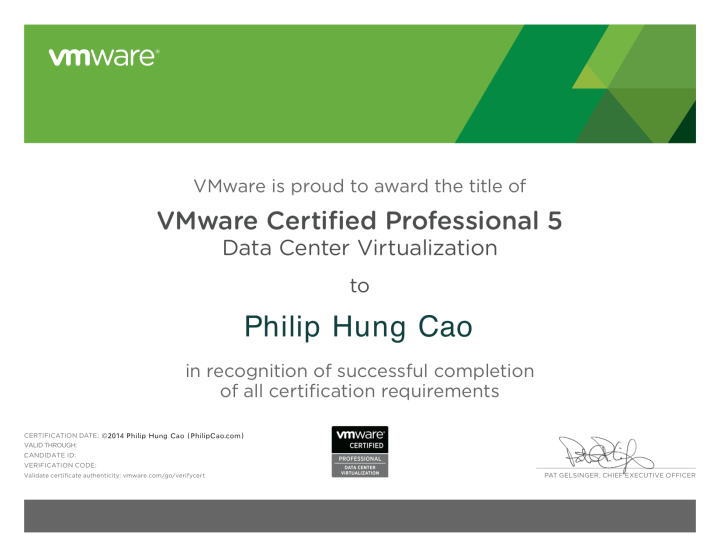 [2014] Philip Hung Cao - VMware Certified Professional 5 - Data Center Virtualization (VCP5-DCV)