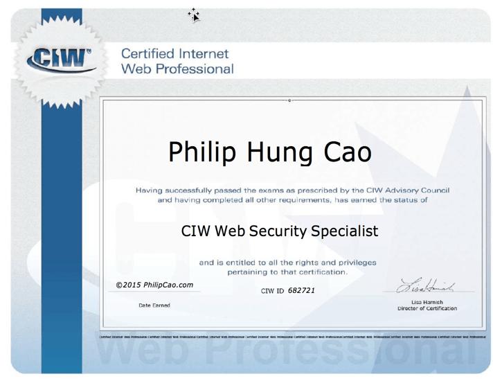 [2015] Philip Hung Cao - CIW Web Security Specialist (CIW-WSS)