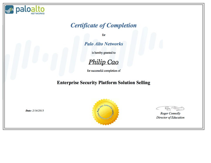 [2015] Philip Hung Cao - Palo Alto Networks Enterprise Security Platform Solution Selling - Certificate of Completion