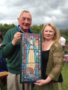 John Ahearn & Cait Branigan with image of Srt.Brigit at the Eigse Gathering 2016