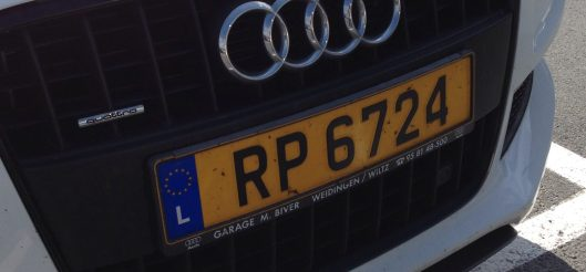 Luxembourg license plate in the parking lot
