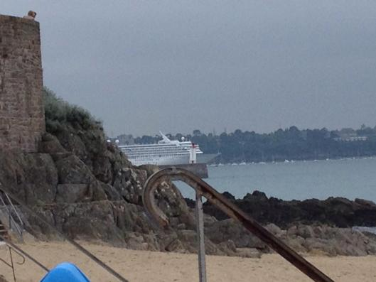 Cruise ship Crystal Symphony in the harbor between Saint-Malo and Dinard
