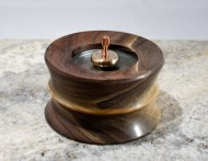 "4"" Walnut w. Maple inlay at waist, 2"" double concave lens (Gone to a new home)"