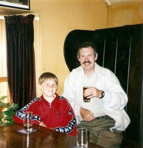 A young and chubby me with my Dad in a pub in Cornwall