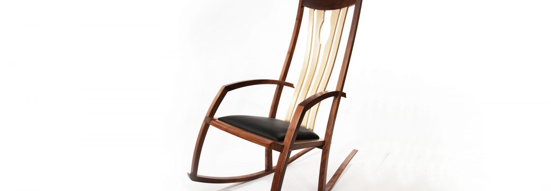 walnut morley rocker with black sheet custom made fine wood furniture