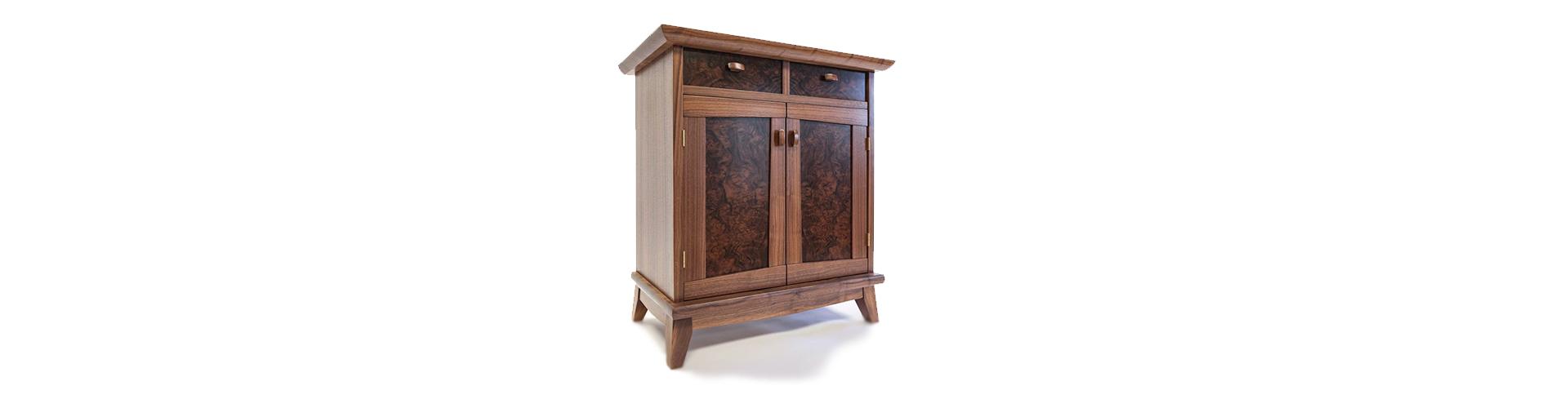 walnut burl cabinet background custom made fine wood furniture