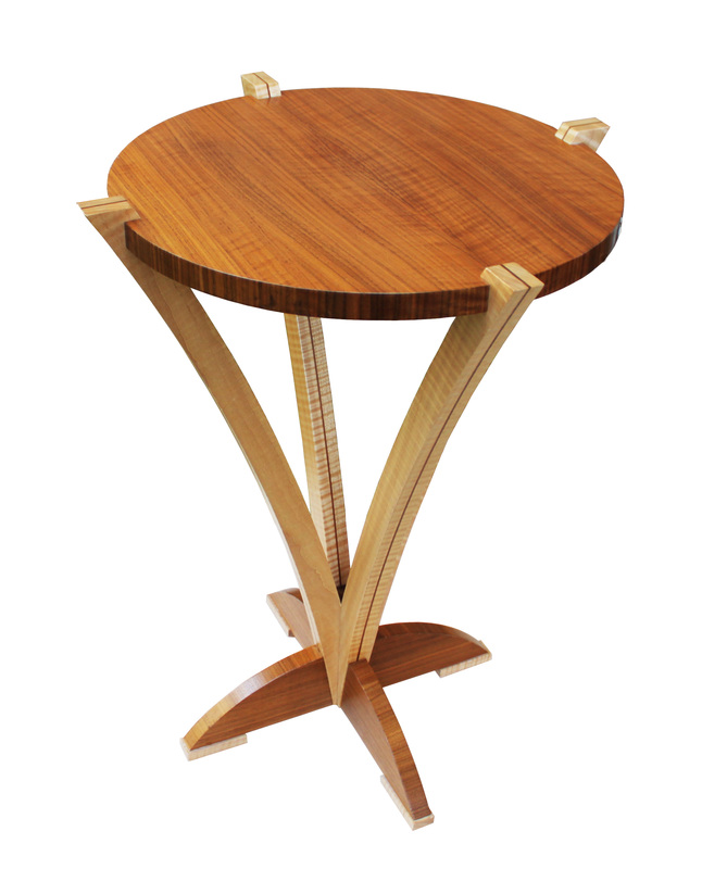 Fiddleback Maple Bloom Table with Walnut Inlay with white background