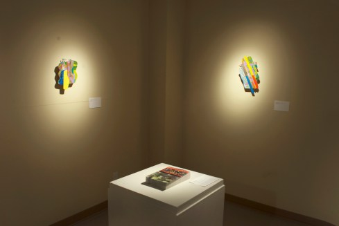 Nature Present, artworks featured: Ingrid Mary Percy, Untitled (Nature Island) and Untitled (No Turning Back), Phaze Five series 2014, mixed media,12 x 9 x 3 in. Matthew Hollett, names will never hurt me, from Small Landmarks 2014, artist multiple postcard
