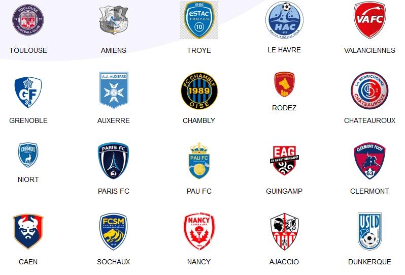 les équipes de ligue 2 pour la saison 2021-2022