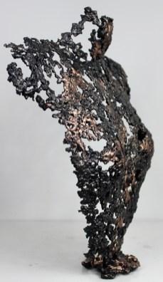 Sculpture de Philippe Buil en metal : dentelle de bronze et d'acier Buste de Femme Belisama La rieuse Piece unique