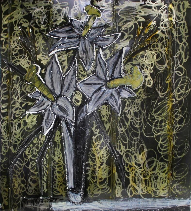 Tableau hommage Bernard Buffet Bouquet de fleurs jaunes - Tablea
