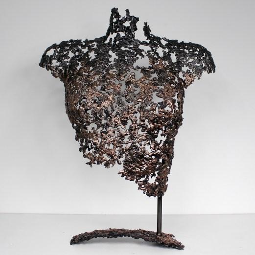 Sculpture de Philippe Buil en metal : dentelle de Bronze et acier Buste de Femme Belisama Aphrodite Piece unique
