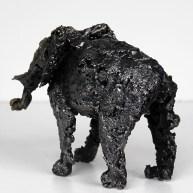 Sculpture de Philippe Buil en metal Dentellede Bronze et d'acier représentant un elephant Piece unique