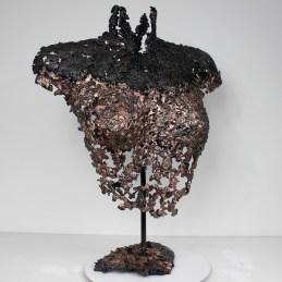 Sculpture de Philippe Buil en metal : dentelle de bronze et d'acier Buste de Femme Belisama Obade Piece unique